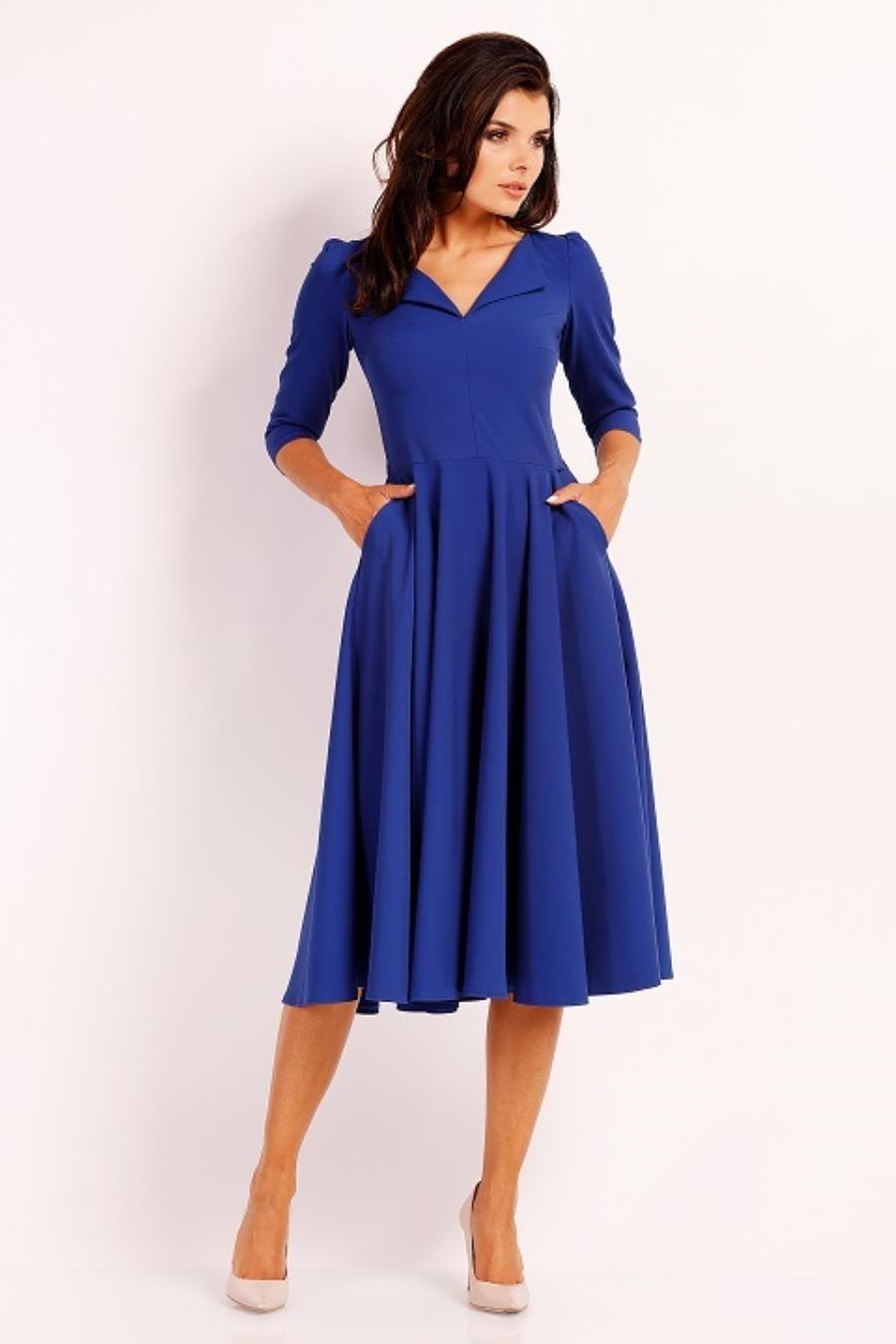 40fb16f7cf Elegancka Sukienka Midi z Dłuższym Rękawem Chabrowa NA454