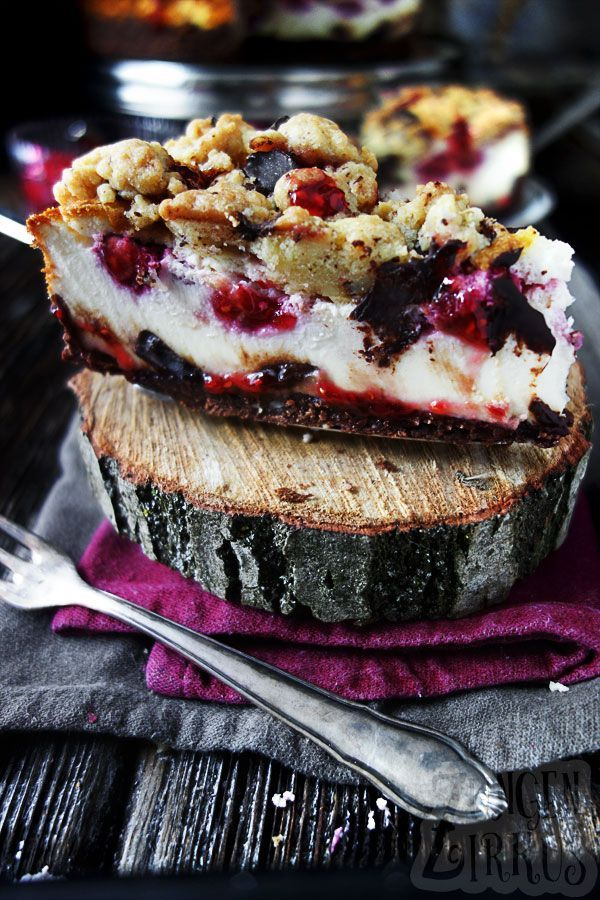 Photo of Sour cream cake with crumble, chocolate and raspberries – tongue …