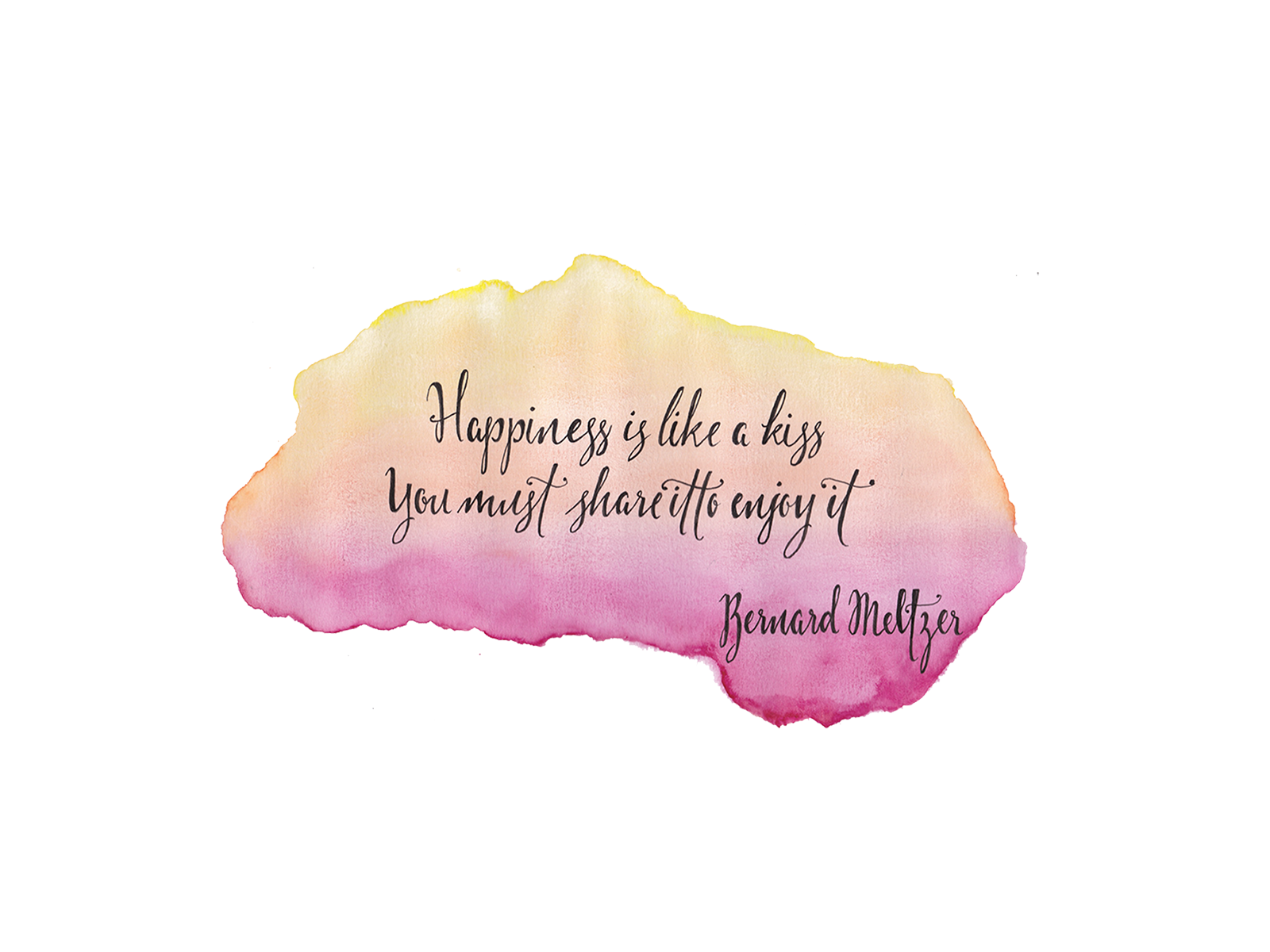 Pink Ombre Watercolour Happiness Quote Desktop Wallpaper Background