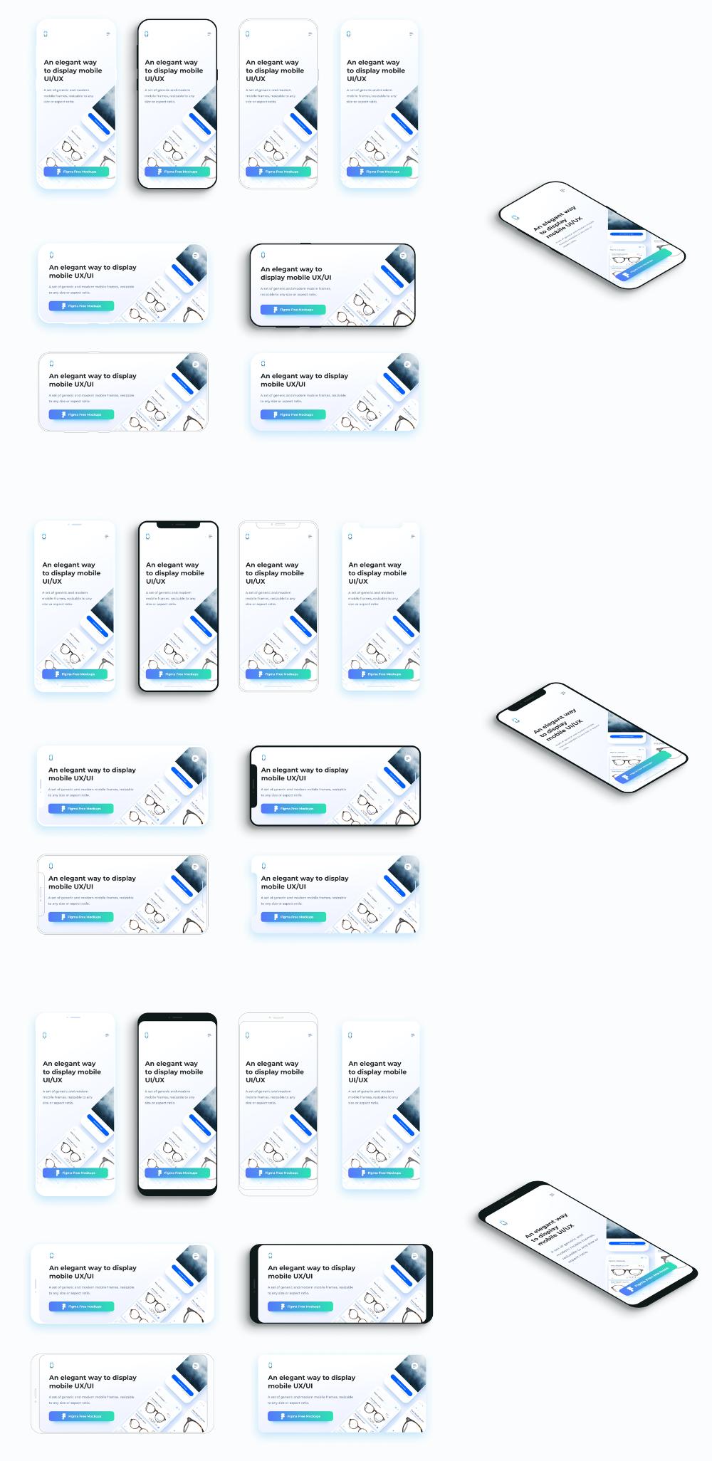 Flat Mobile Frames Mockups For Figma Uistore Design Frame Mockups Figma Mockup Design