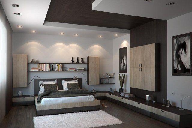Faux plafond moderne dans la chambre à coucher et le salon | Design