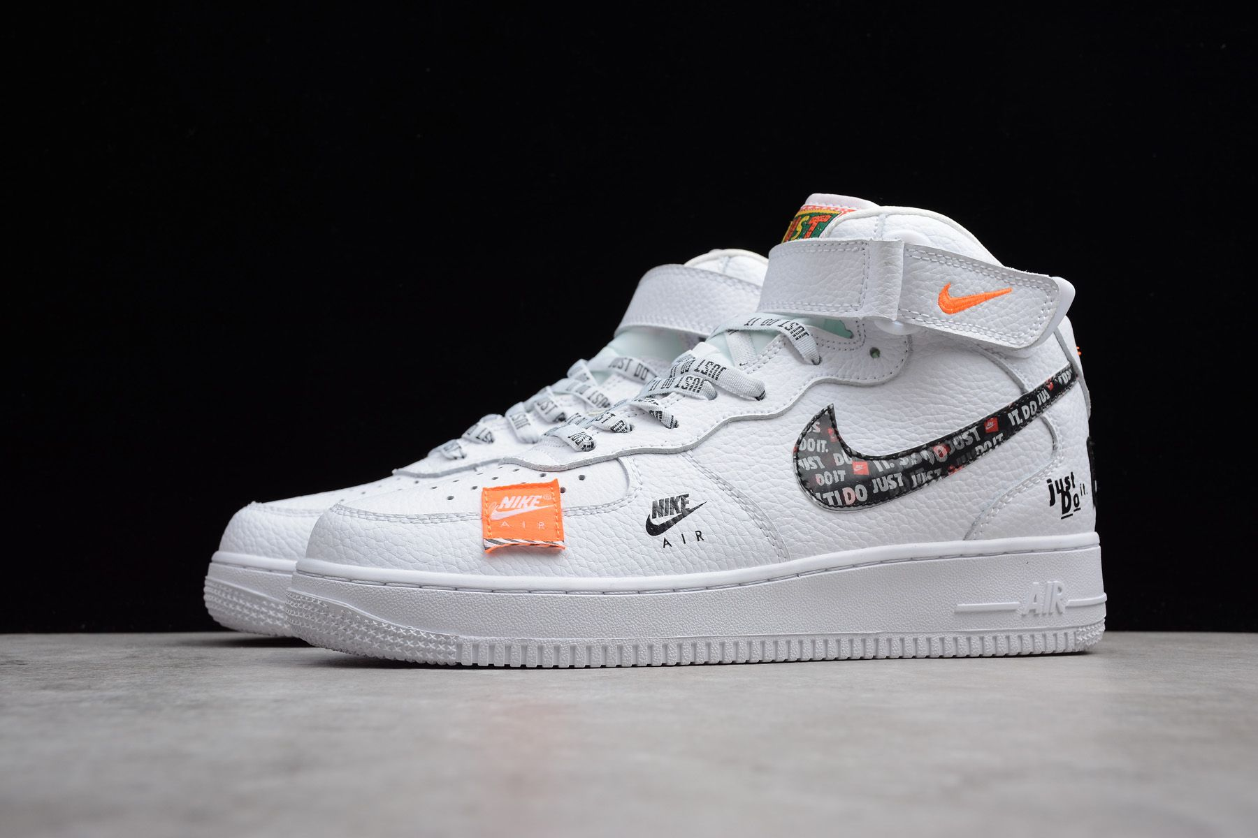 "77d1669b3bd12 Nike Air Force 1 Mid ""Just Do It"" White/Black-Total Orange BQ6474-100"