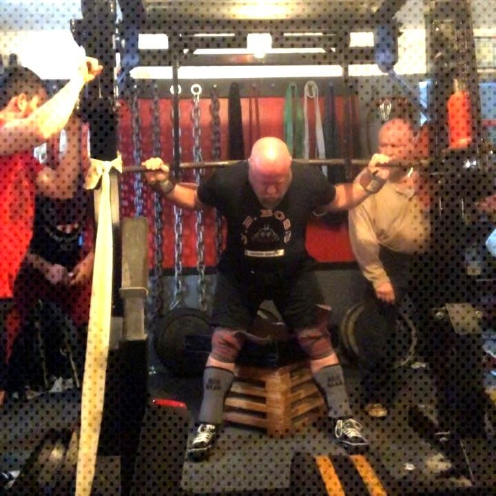 using rev band box squats up to 804x1 for a PR! Using @606gear Triple knee wraps and wrist wraps.
