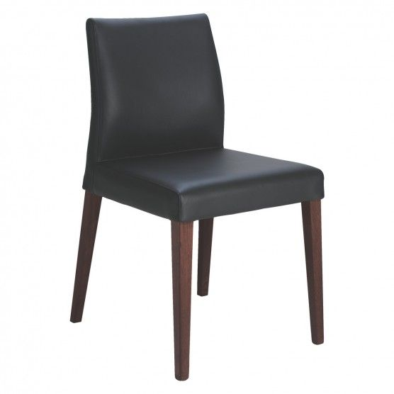 Elodi Black Leather Dining Chair With Walnut Stain Legs Buy Now