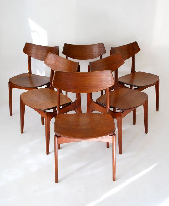 Rare Floating Seat Danish Teak Chairs Funder Schmidt Madsen Erik Buck Made In Denmark Set Of 6 Teak Chairs Dining Room Chairs Mid Century Dining