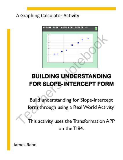 Building Understanding For Slope Intercept Form From Jamesrahn On