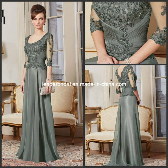 3/4 Sleeves Lace Dark Sage Green A-Line Scoop Neckline Mother of ...