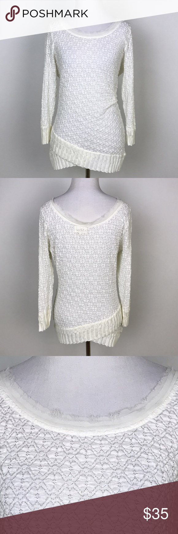 """[Anthropologie] Deletta Ivory Sweater Wrap Gather Delicate and beautiful pullover sweater by Deletta from Anthropologie. Wide neckline. Ribbed hem with crossover detail. Gathered on left side. Very flattering.   🔹Fabric: Cotton, Nylon, Spandex 🔹Bust: 36"""" 🔹Length: 28"""" 🔹Condition: Excellent pre-owned condition. Anthropologie Sweaters"""