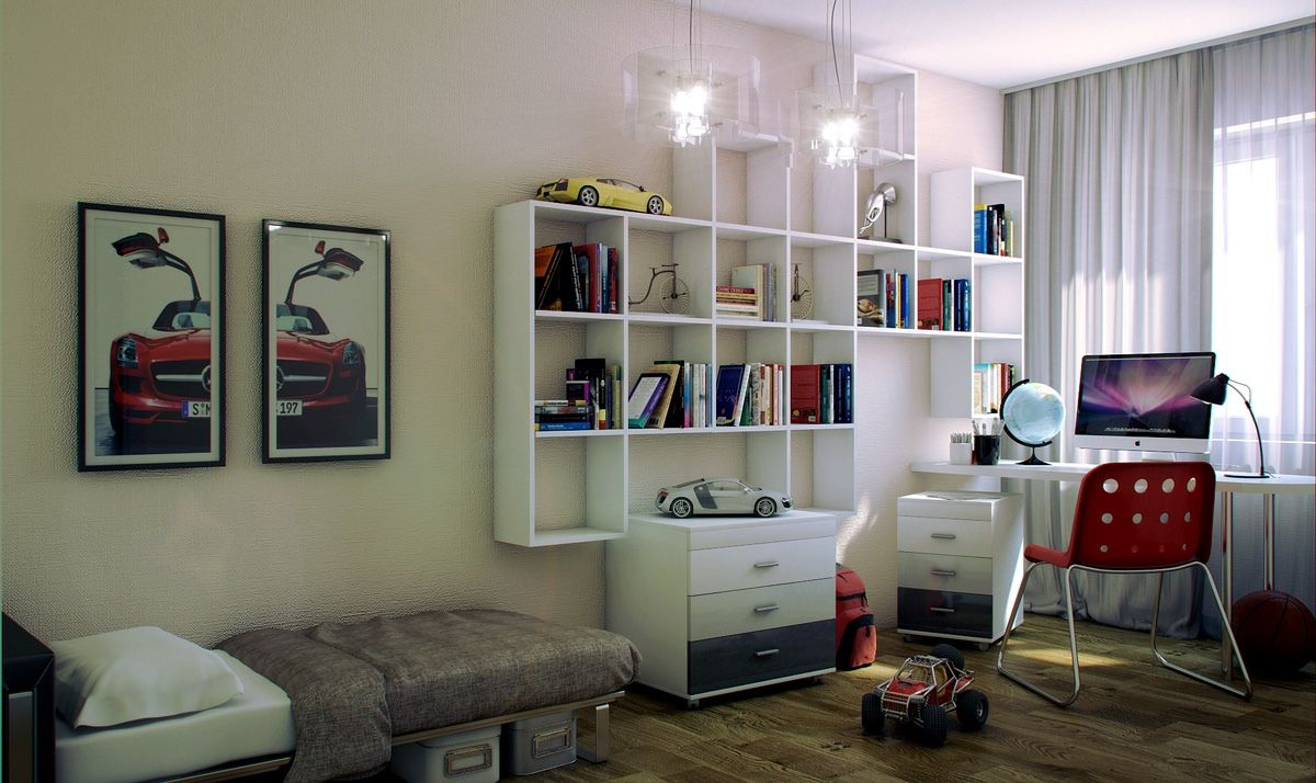 Fascinating Teen Room Design With Single Bed And Elegant Study Desk ...