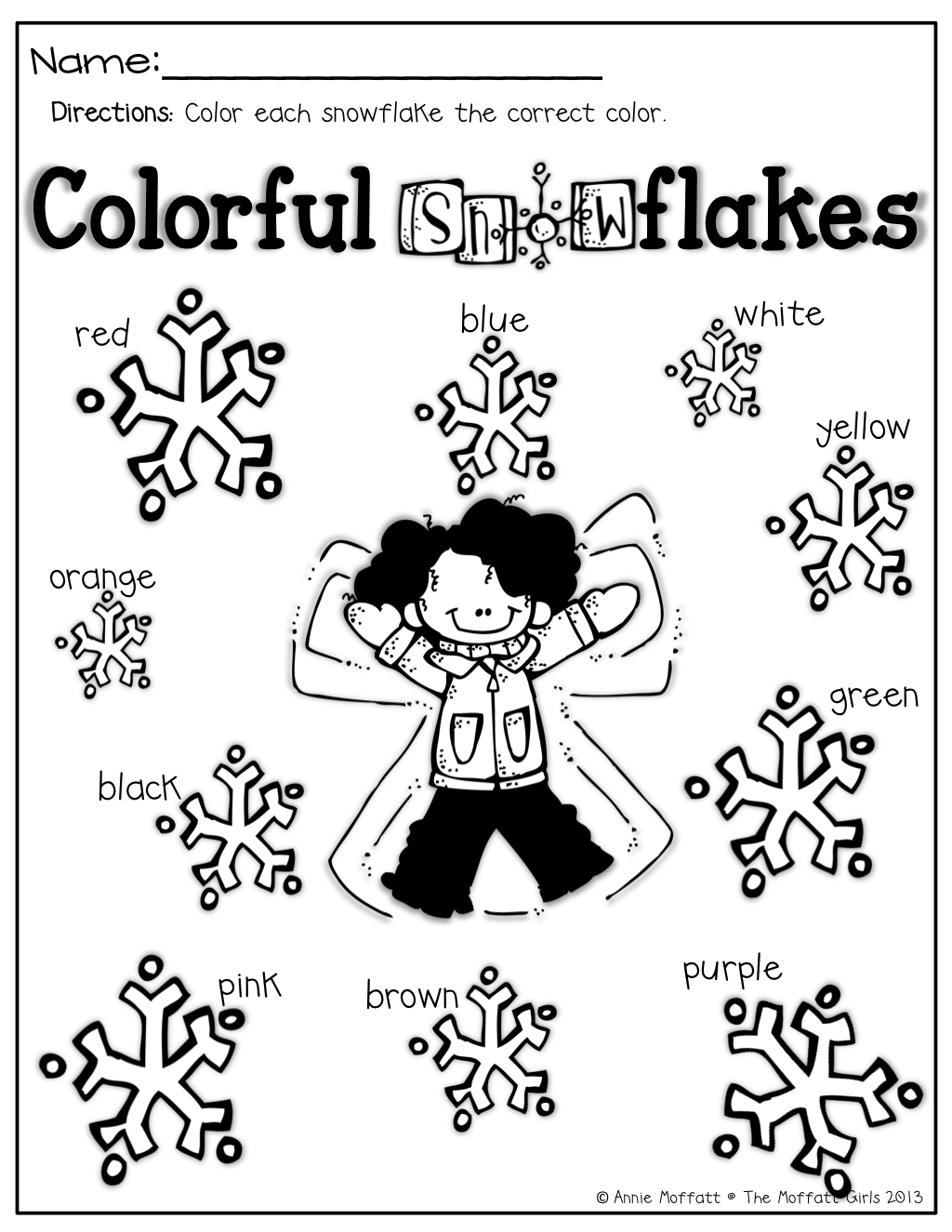 Working With Color Words Color The Snowflake The Correct