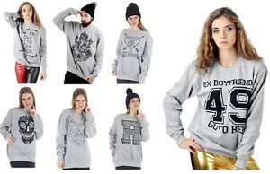 Womans Girls Mens Boys Long Sleeve OverSized Baggy Printed Jumper Top M L New