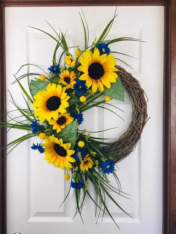 Photo of BEST SELLING, Sunflower wreath, Summer Wreath, Farmhouse Wreath, Front Door Wreath, Wreath, Spring Wreath, Fall Wreath, Year Round Wreath