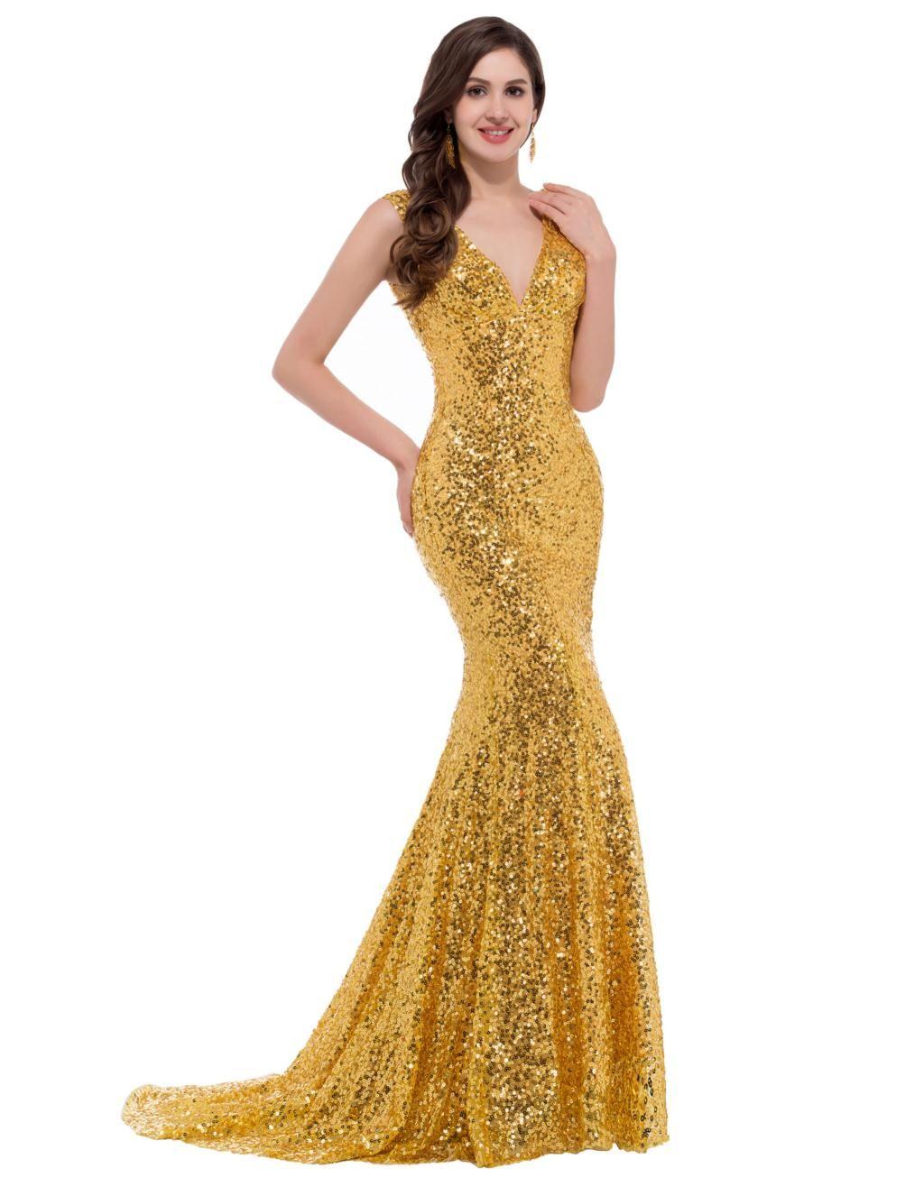 Evening wedding guest dresses  Gold sequin evening dress  Color dress  Pinterest  Wedding guest