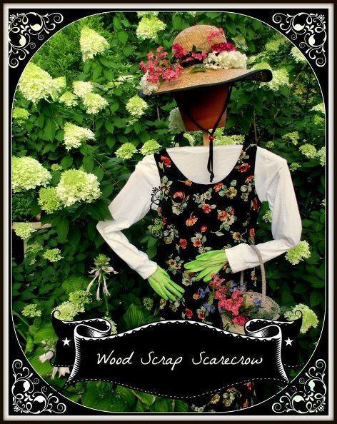 garden projects from repurposed items, container gardening, crafts, flowers, gardening, repurposing upcycling, seasonal holiday decor, wreaths, 8 Wood Scrap Scarecrow