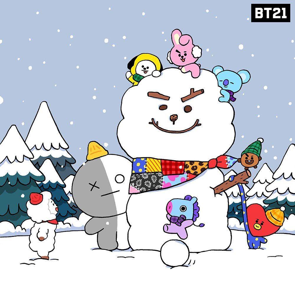 Do You Wanna Build A Snowman Bt21 Animasi Wallpaper Lucu Lucu