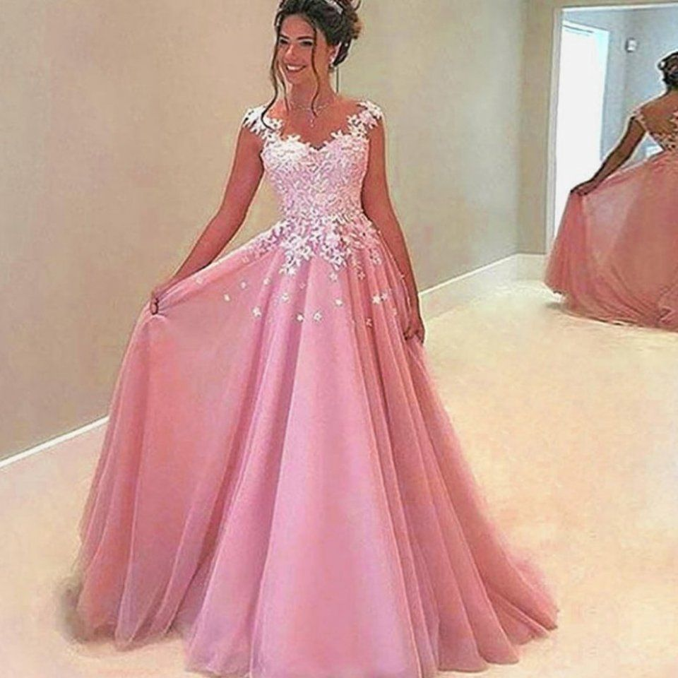 BeryLove Long Pink Evening Dresses 16 Beaded Tulle Lace