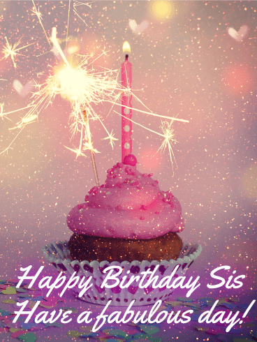 Glitter Happy Bday Sister : glitter, happy, sister, Sparkle, Happy, Birthday, Sister, Greeting, Cards, Davia, Little