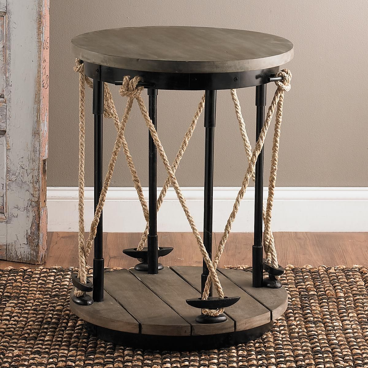 Industrial Rope And Wood Side Table With Images Brown Living