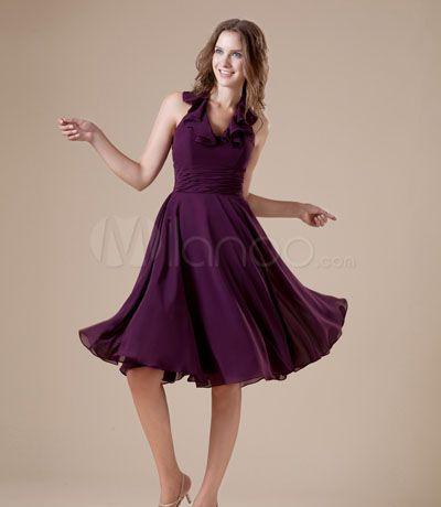 فستان حفلات تخرج شيفون لون نهدي Halter Bridesmaid Dress Dresses Homecoming Dresses