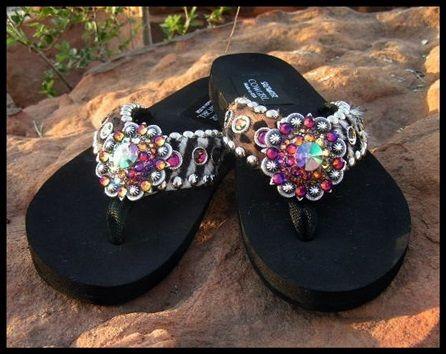 8f2e9325f20b Lilly Zebra   Leopard Cowhide Swarovski Flip Flops-cowgirl jewelry ...