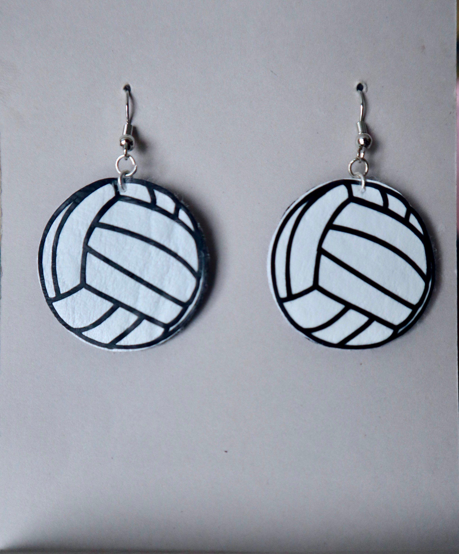 Faux Leather Tear Drop Volleyball Earrings Volleyball Mom Earrings Leather Earrings Volleyball Mom