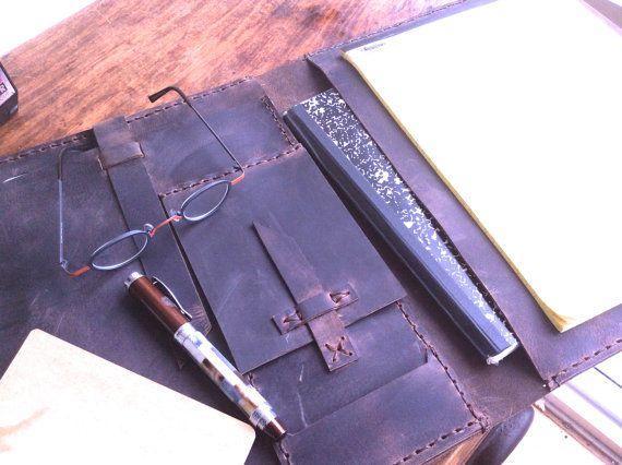 iPad portfolio case writing pad - tablet notepad case - handmade - leather resume folder