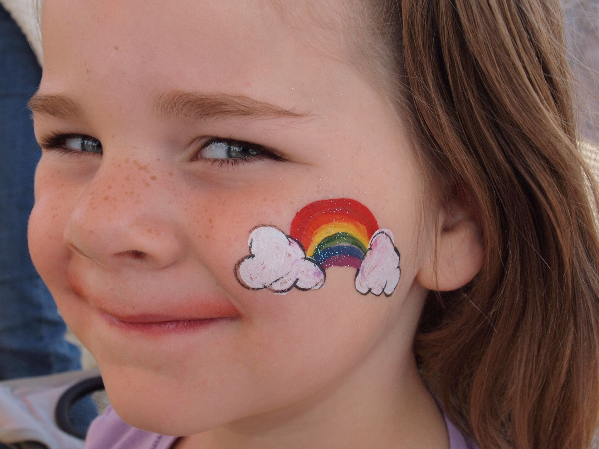 Cheek art rainbow face painting pinterest rainbows for Face painting for parties