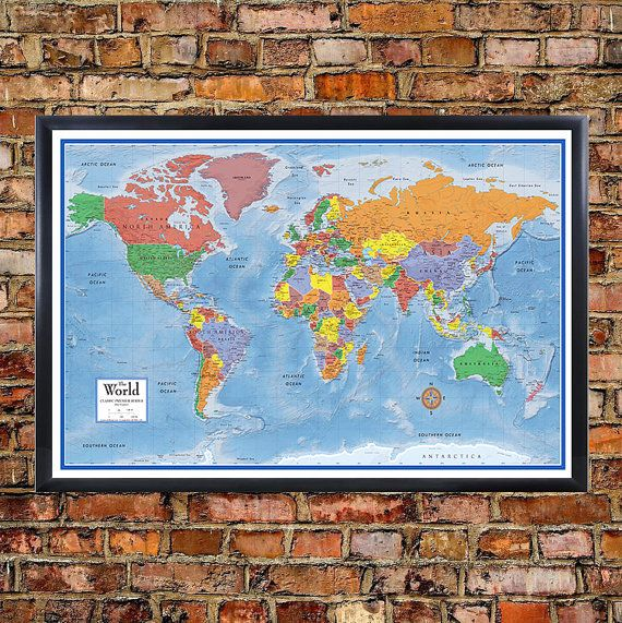 24x36 world classic premier 3d wall map poster foam cork board world classic premier wall map poster foam cork board mounted and laminated push pin travel map with 100 free push pins gumiabroncs Choice Image