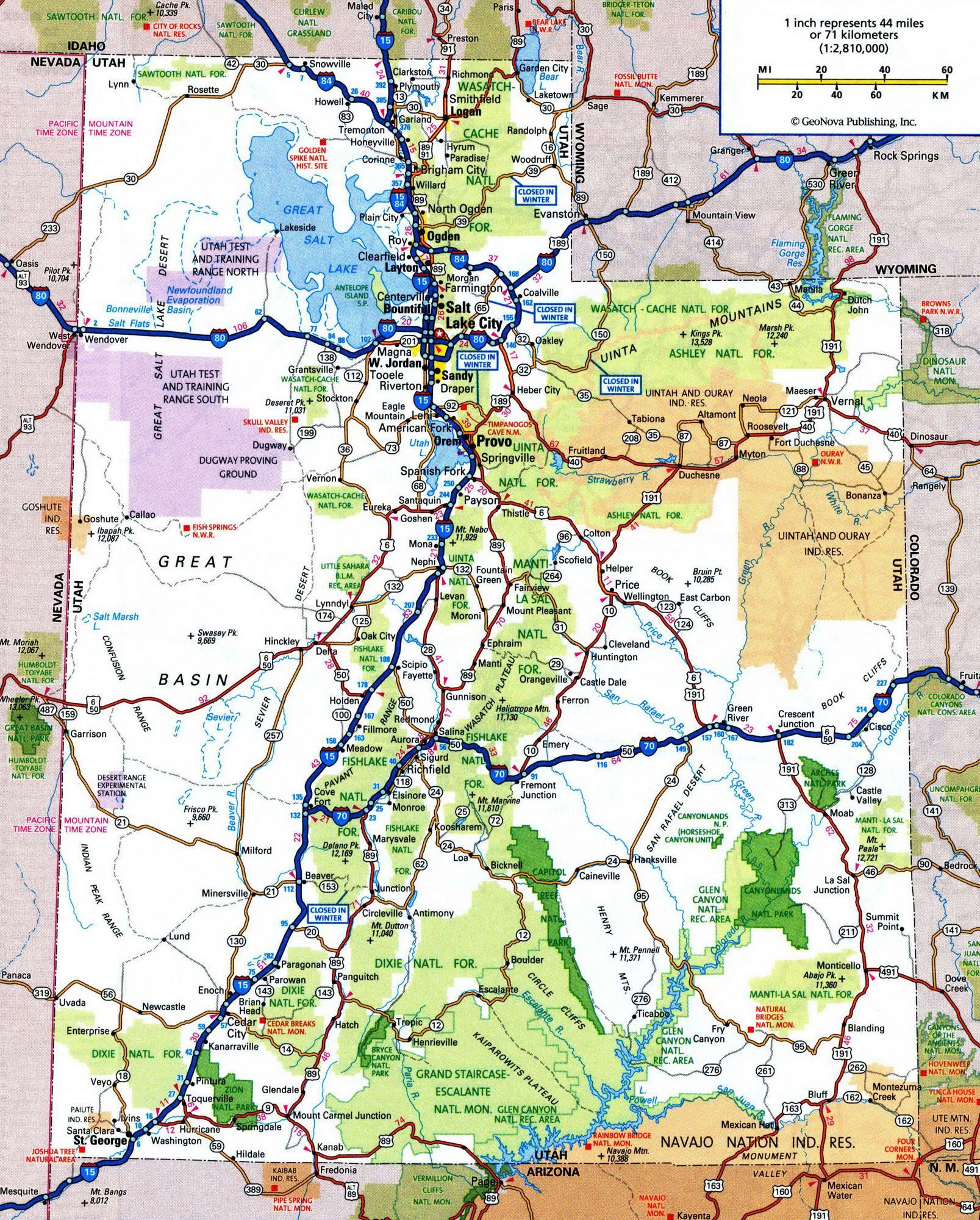 Highway and road of Utah Free maps of US TravelUS12 Utah
