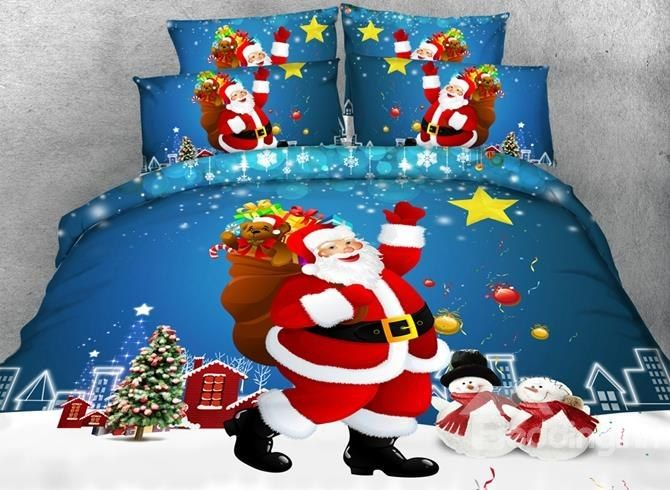 Smiling Santa Claus And Christmas Gift Print 4 Piece Duvet Cover Sets Blue Bedding Sets Matching Bedding And Curtains Bedding Sets
