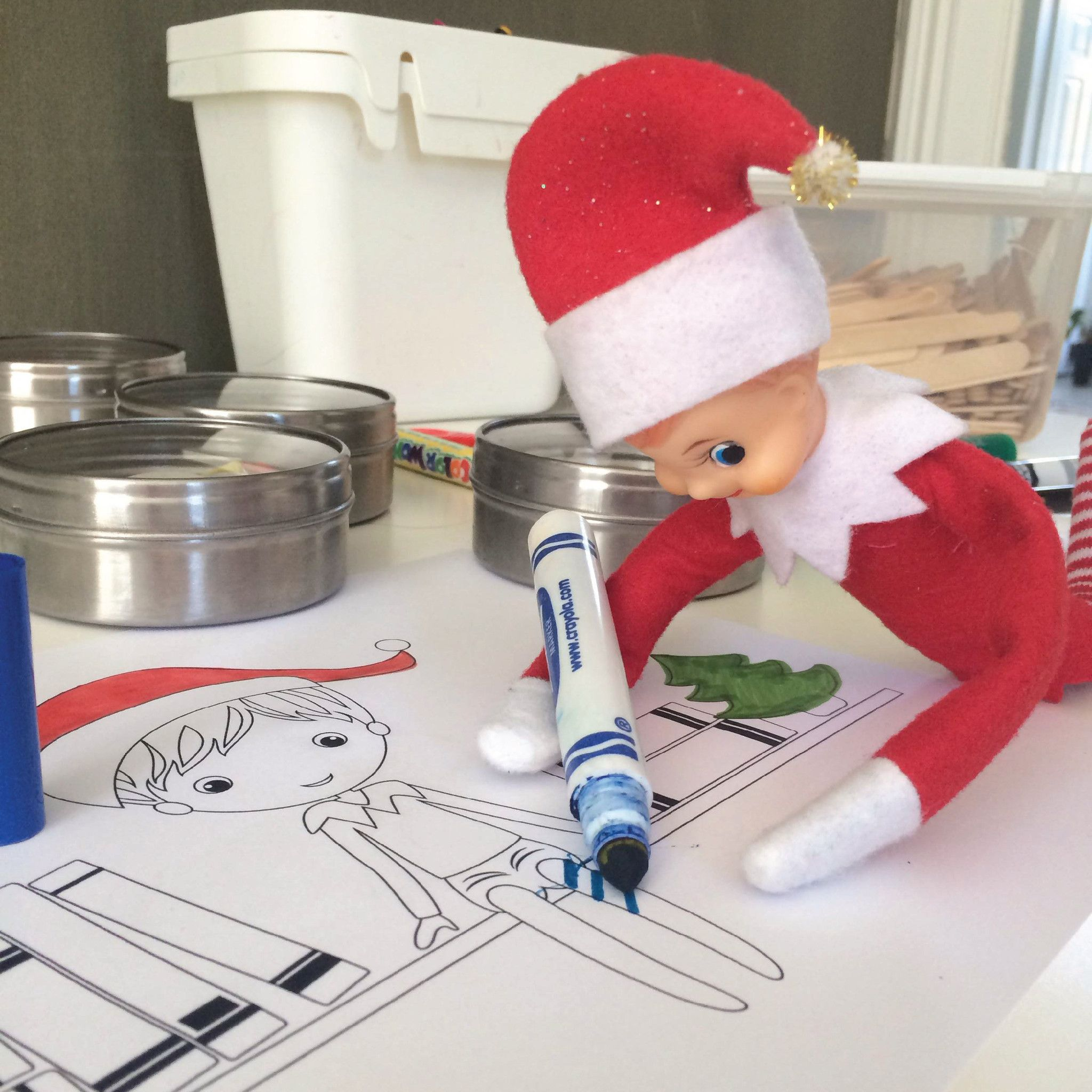 Color with your elf this year with our printable elf kit this kit