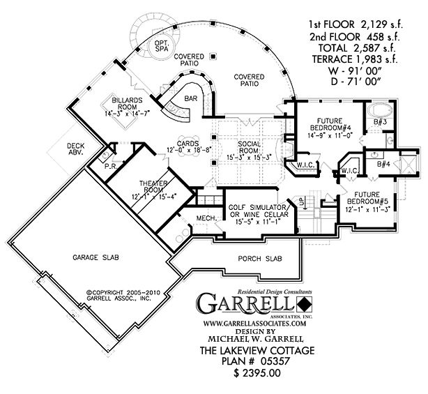 lakeview cottage house plan 05357 terrace floor plan cabin house plans covered porch - Cabin House Plans