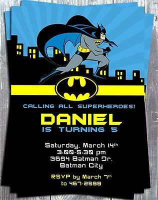 Set Of 12 Batman Birthday Party Invitation Cards