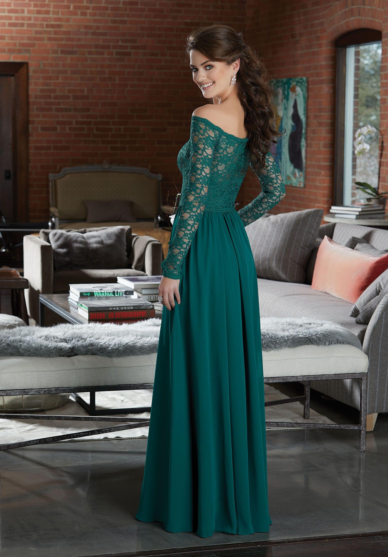 Long Sleeve Lace and Chiffon Bridesmaid Dress Morilee