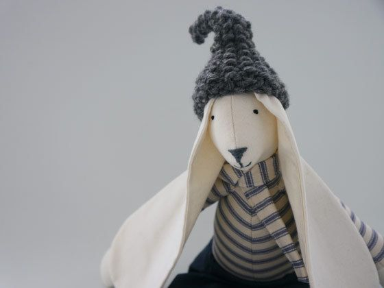 Rabbit fabric toy handmade large boy doll bunny childs easter gift rabbit fabric toy handmade large boy doll bunny childs easter gift tom dressed in blue ticking jeans and charcoal wool hat gift bag uk shops negle Images