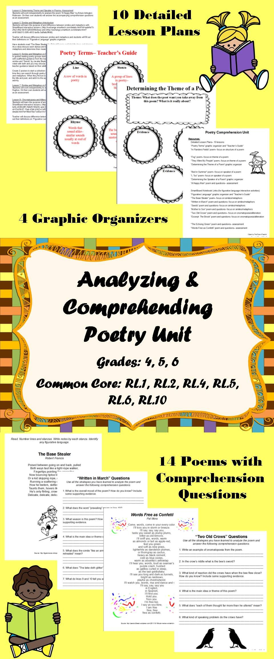 Poetry Unit Analyzing And Comprehending Poems Common Core 4th 5th 6th Poetry Unit Poetry Terms Poetry