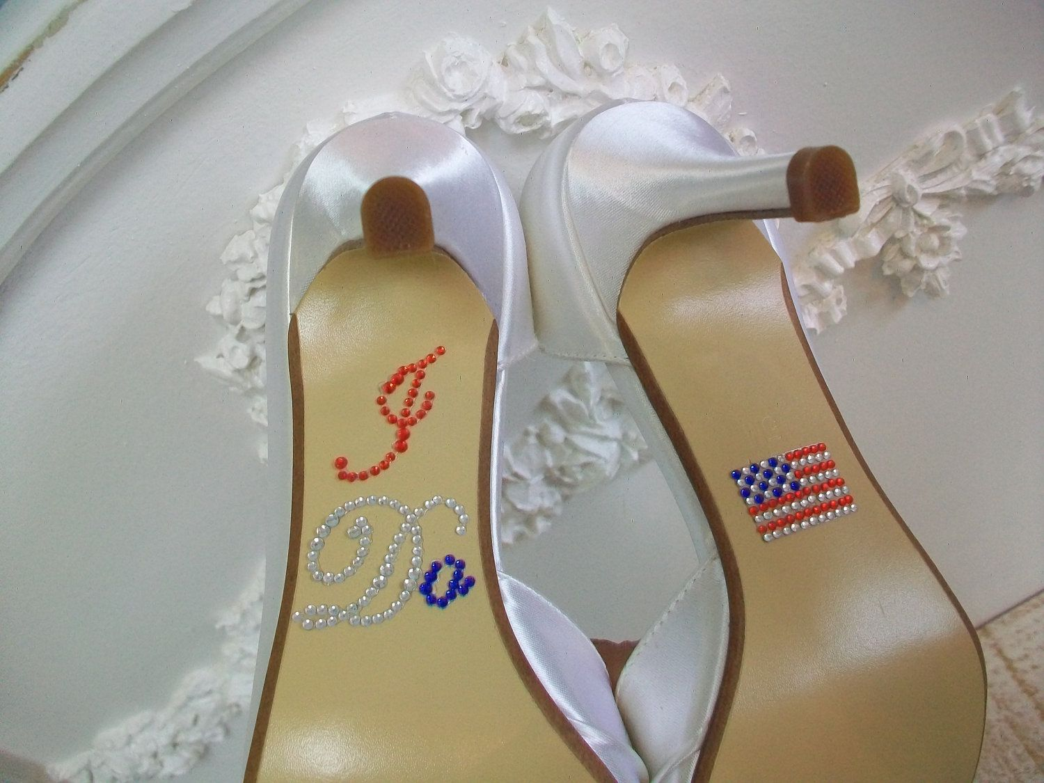 Wedding Shoes I Do Shoe Decal Red White Blue Wedding Military
