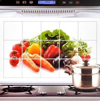 Kitchen Decor Oil Proof Aluminum Foil Wallpaper Vegetables Sticker Decals Tool