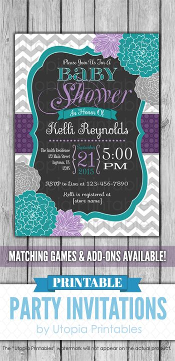 Teal Purple Floral Baby Shower Invitation Chevron Flowers Theme Digital  Printable Customized 5x7 Dark Gray Grey White Turquoise Violet Party