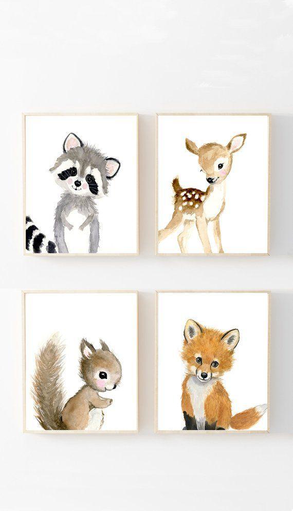Woodland Nursery Prints Set 4, Neut…