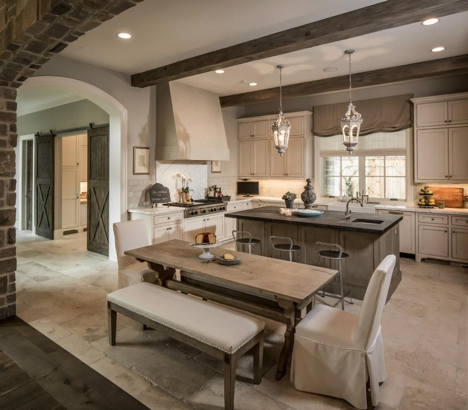 Antique White Cabinets Exposed Beams Contrasting