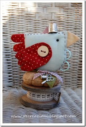Bird pincushion and scissors keeper-