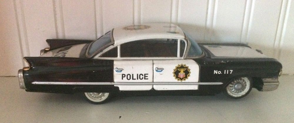 Details about Vintage Tin Toy Police Car Made in Japan Ichiko 28 cm
