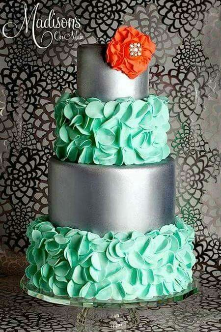 Beautiful Cake Pictures Mint Green Petals Silver Sheen Tiers Colorful Cakes Wedding Navy Blue Flower Instead Of The C