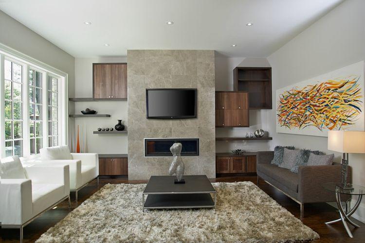 ideen für kamin fernseher wandverkleidung stein wohnzimmer moebel ...