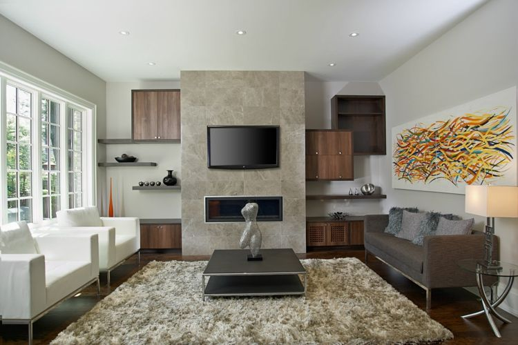 ideen fr kamin fernseher wandverkleidung stein wohnzimmer moebel - Bcherregal Ideen Neben Kamin