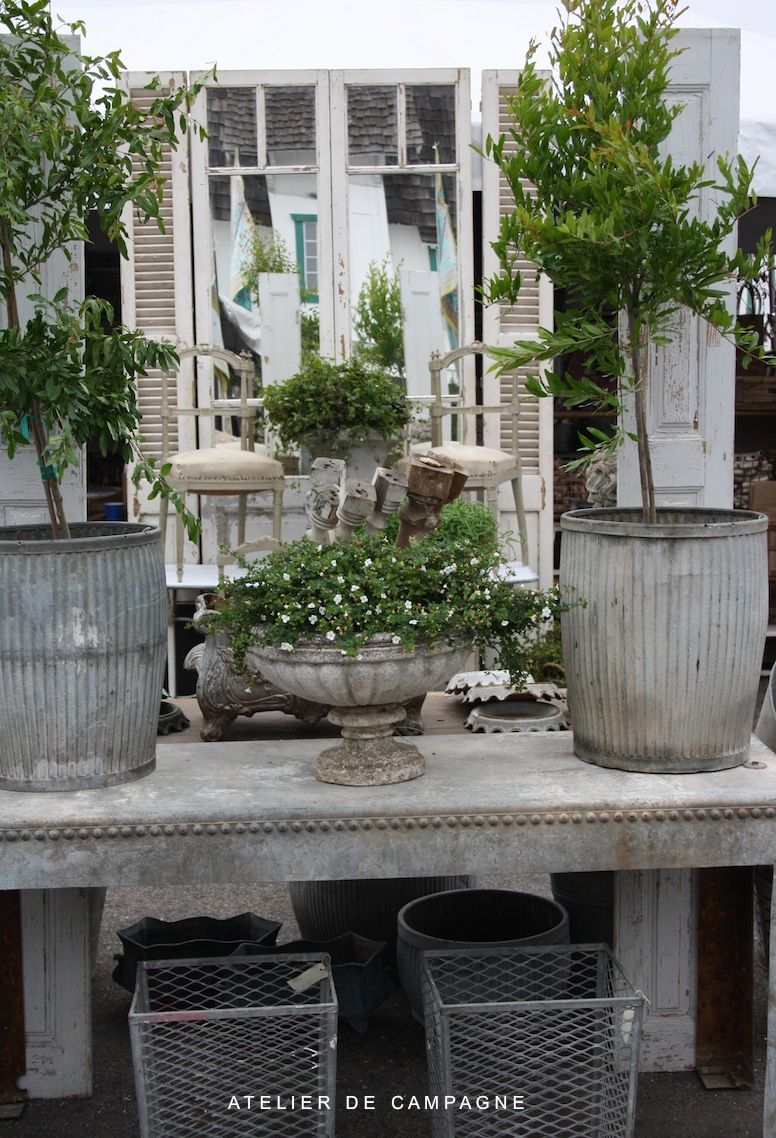 Zinc Dolly Tubs from England as planters  Garden containers