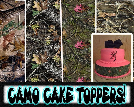 Edible Camouflage Cake toppers side strips picture image birthday tops camoflage