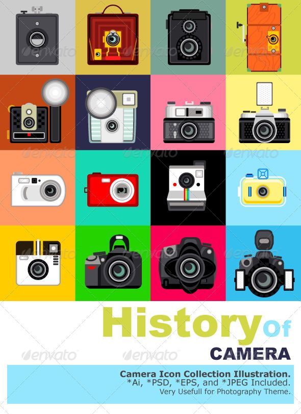 History of Camera  #GraphicRiver         Illustration of Camera's History. Very Useful for Photography Theme.   Main File is Vector Ai. Easy to Use and Custom. Also Available in another format. PSD (Vector Smart Object), Eps.8 and High Ress Jpeg.     Created: 24September12 GraphicsFilesIncluded: PhotoshopPSD #JPGImage #VectorEPS #AIIllustrator Layered: No MinimumAdobeCSVersion: CS Tags: DisposableCamera #PhotographicThemes #aperture #camera #cameraflash #capturing #collection #digitalcamera…