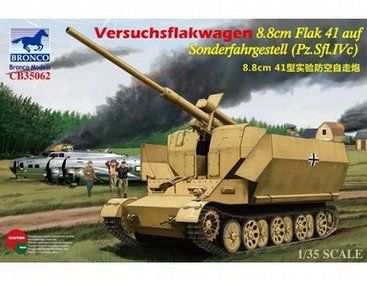 The Bronco German Pz.Sfl.IVc 8.8cm Flak Model Kit in 1/35 scale from the plastic tank model kits range accurately recreates the real life German self-propelled anti-aircraft gun, the Versuchsflakwagen 8.8cm Flak auf Sonderfahrgestell. This Bronco tank model requires paint and glue to complete.